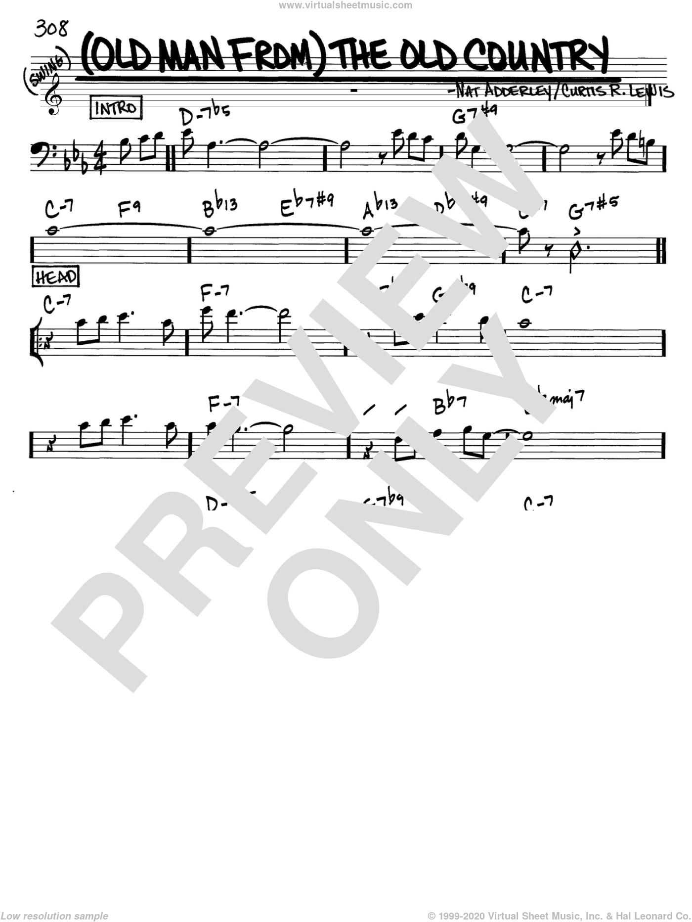 (Old Man From) The Old Country sheet music for voice and other instruments (Bass Clef ) by Curtis R. Lewis and Nat Adderley. Score Image Preview.