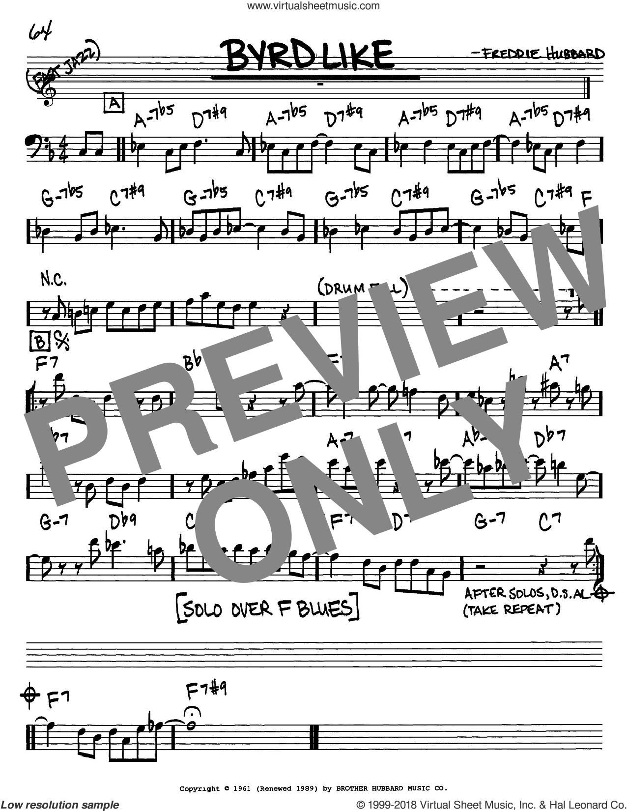 Byrd Like sheet music for voice and other instruments (Bass Clef ) by Freddie Hubbard. Score Image Preview.