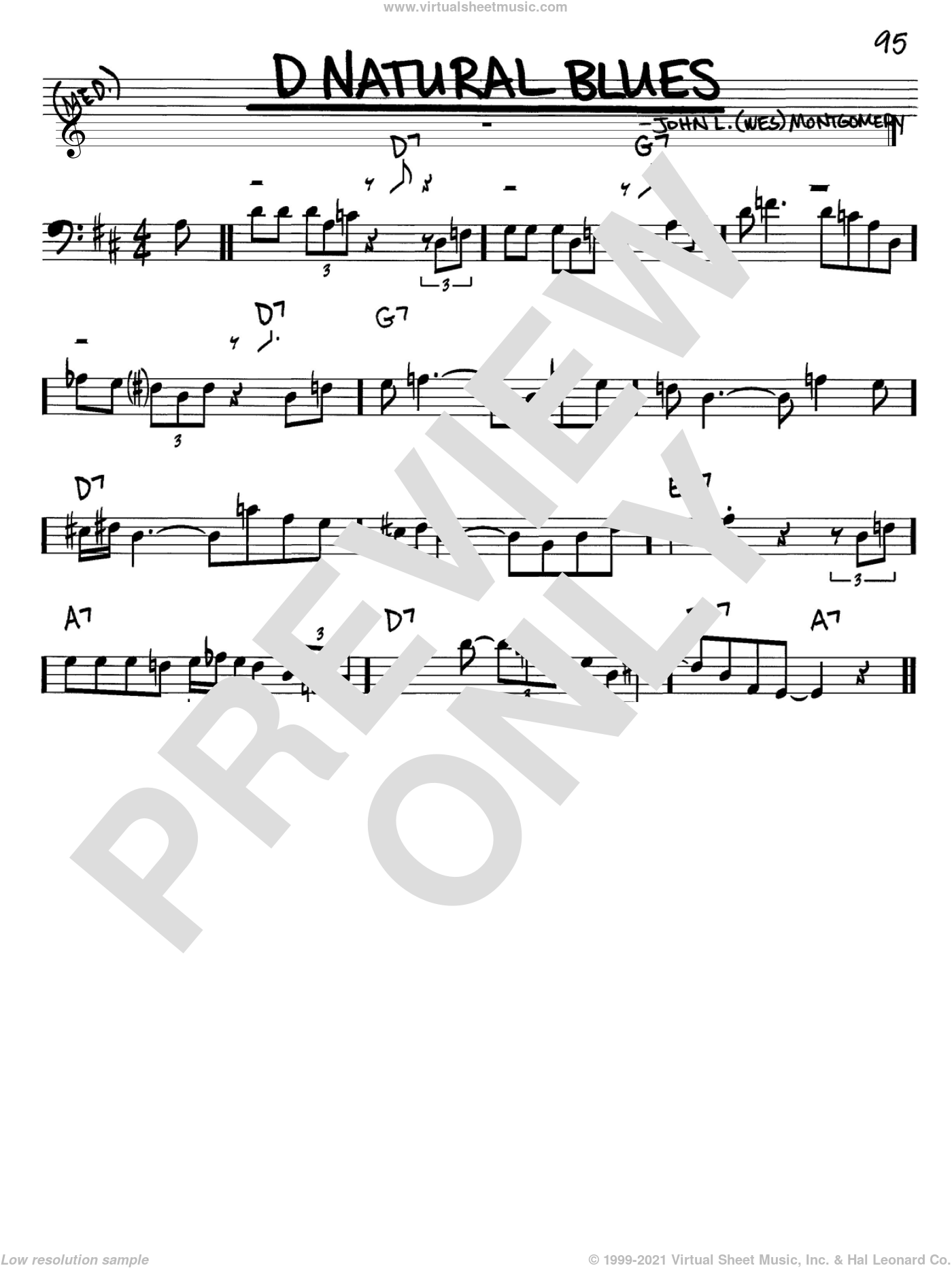 D Natural Blues sheet music for voice and other instruments (Bass Clef ) by Wes Montgomery. Score Image Preview.