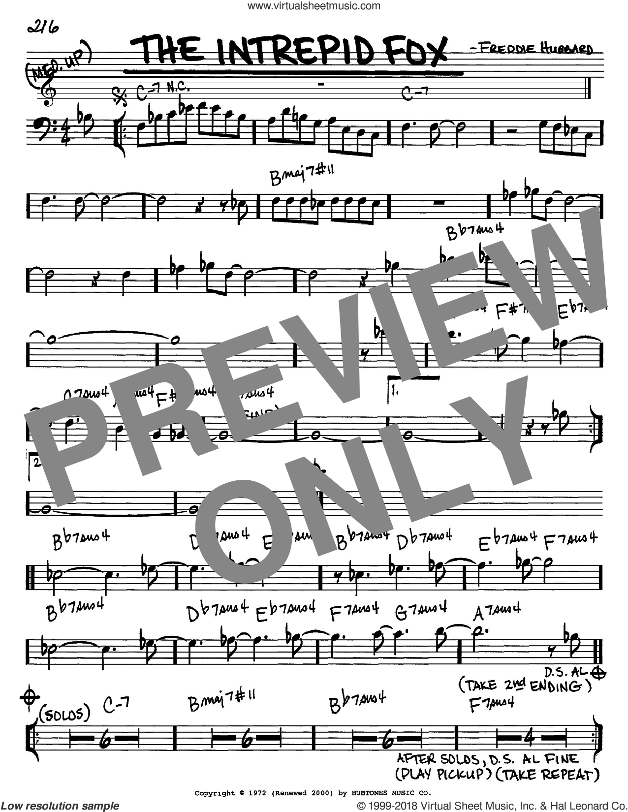 The Intrepid Fox sheet music for voice and other instruments (Bass Clef ) by Freddie Hubbard. Score Image Preview.