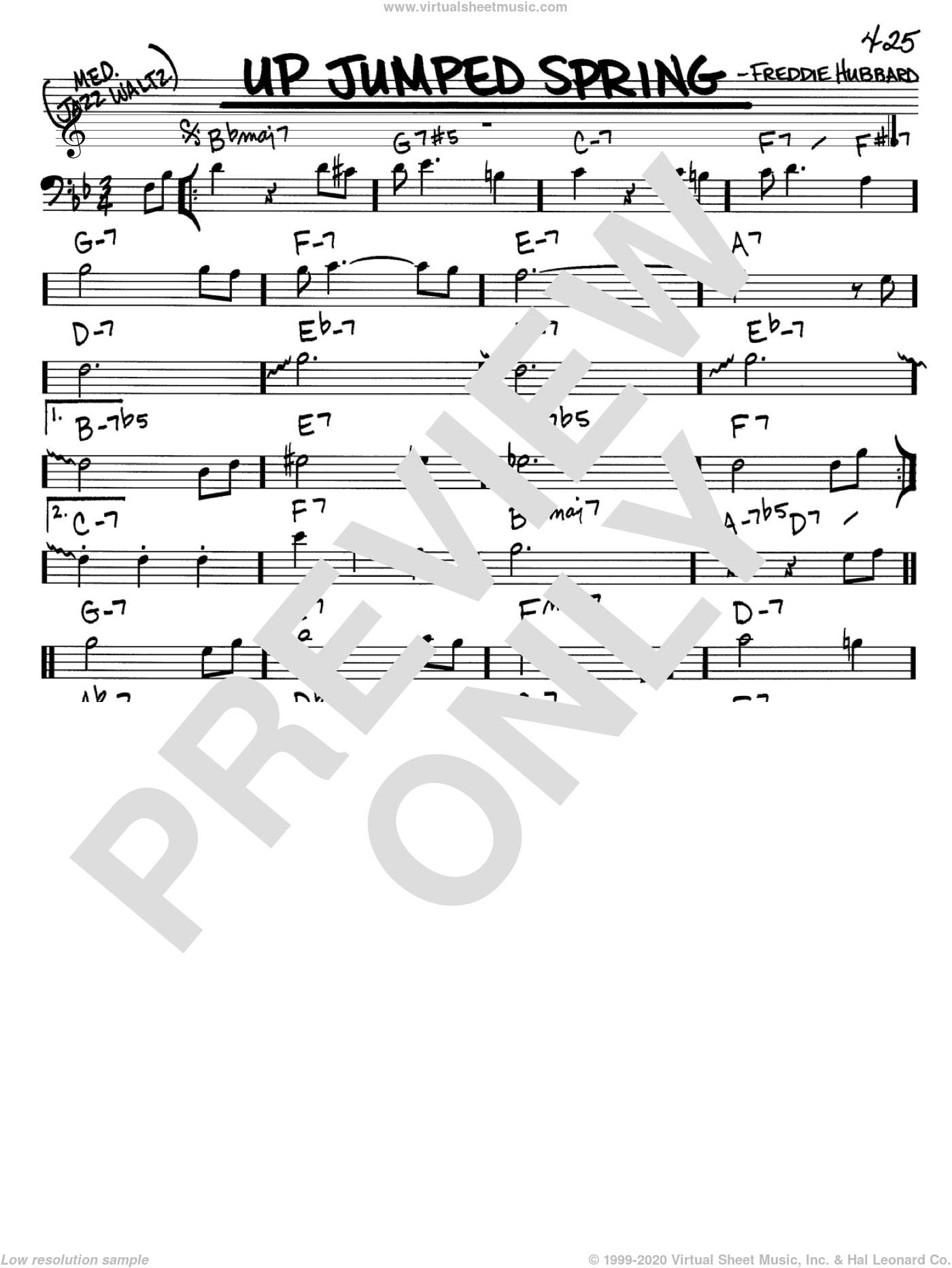 Up Jumped Spring sheet music for voice and other instruments (Bass Clef ) by Freddie Hubbard