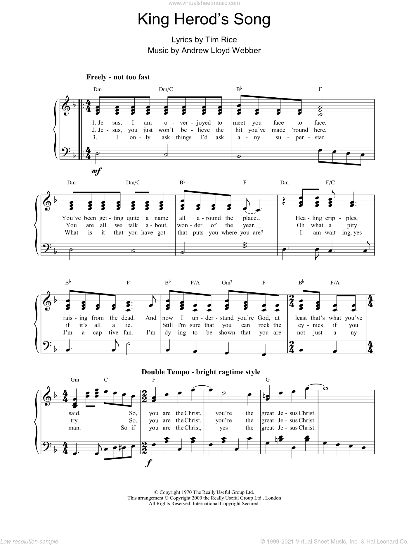 King Herod's Song sheet music for piano solo by Andrew Lloyd Webber, Jesus Christ Superstar (Musical) and Tim Rice, easy skill level