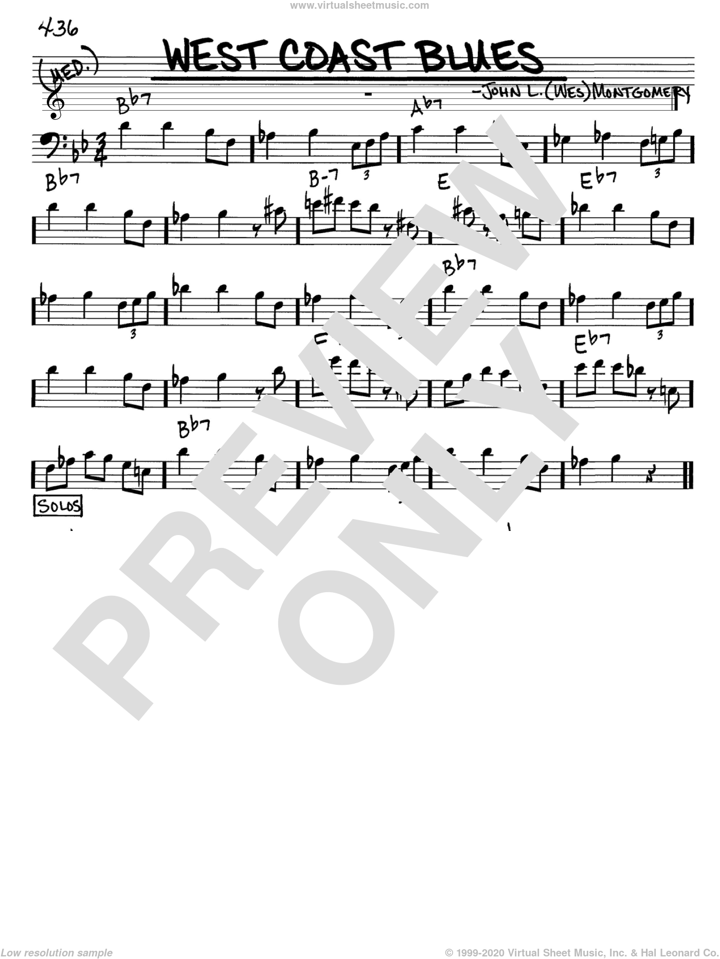 West Coast Blues sheet music for voice and other instruments (Bass Clef ) by Sascha Burland and Wes Montgomery. Score Image Preview.