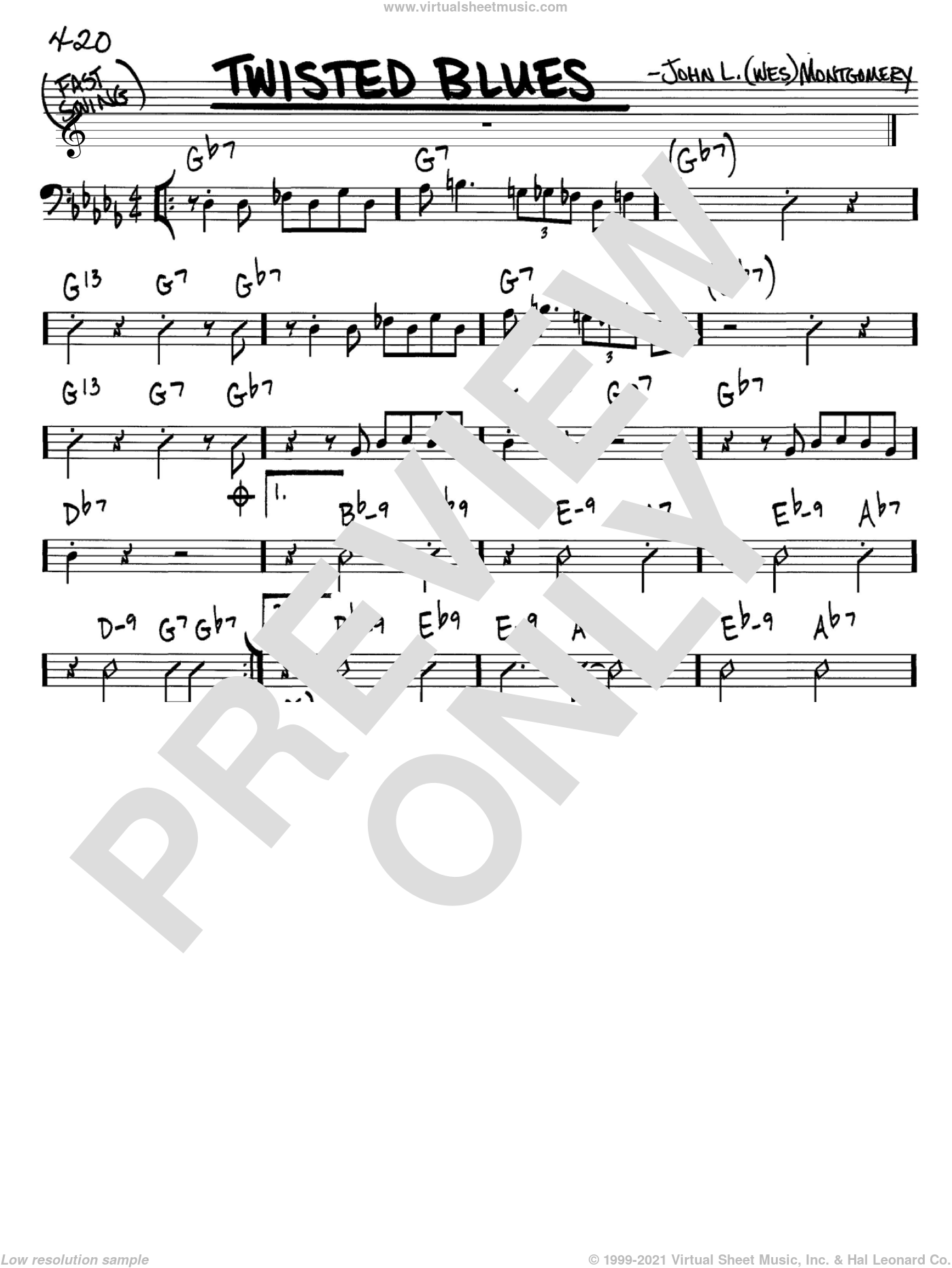 Twisted Blues sheet music for voice and other instruments (Bass Clef ) by Wes Montgomery. Score Image Preview.