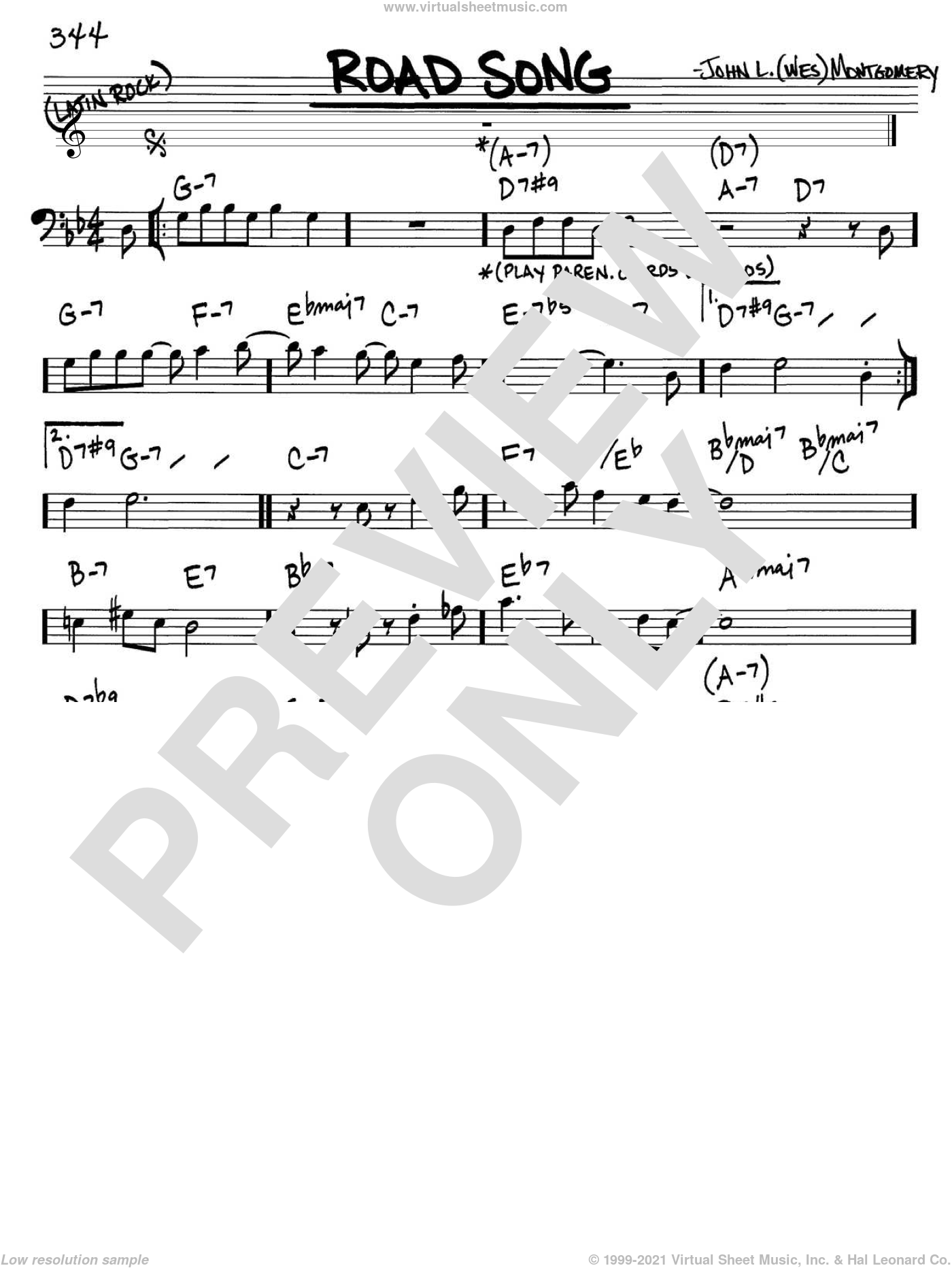 Road Song sheet music for voice and other instruments (bass clef) by Wes Montgomery, intermediate skill level