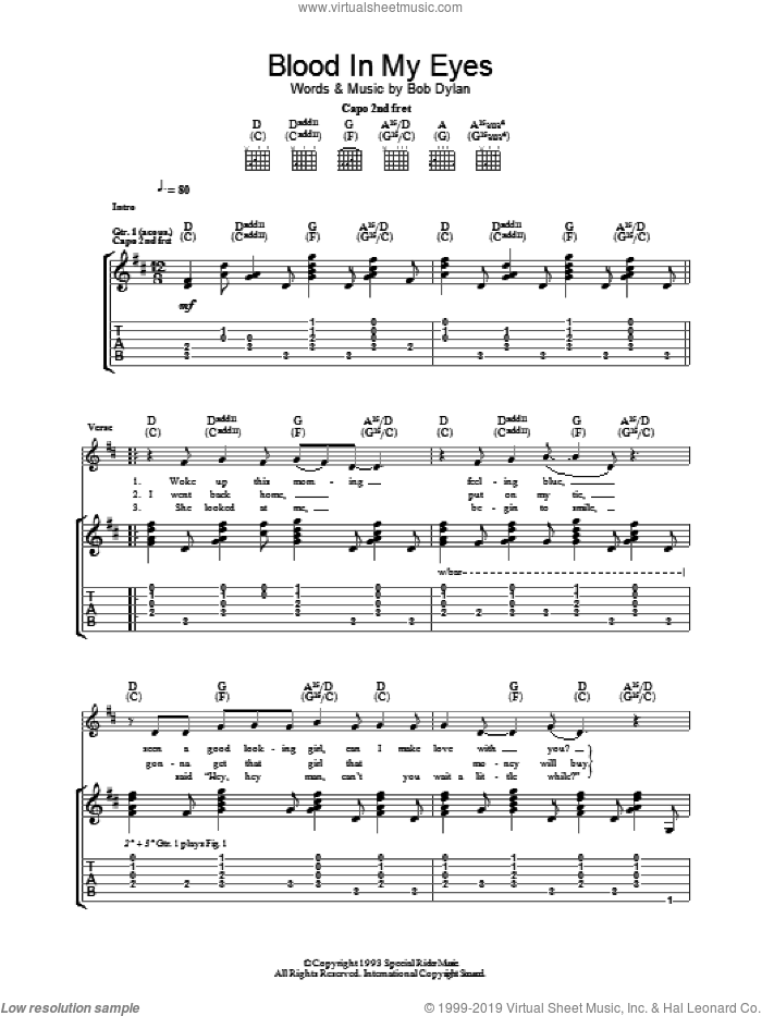 Blood In My Eyes sheet music for guitar (tablature) by Bob Dylan. Score Image Preview.