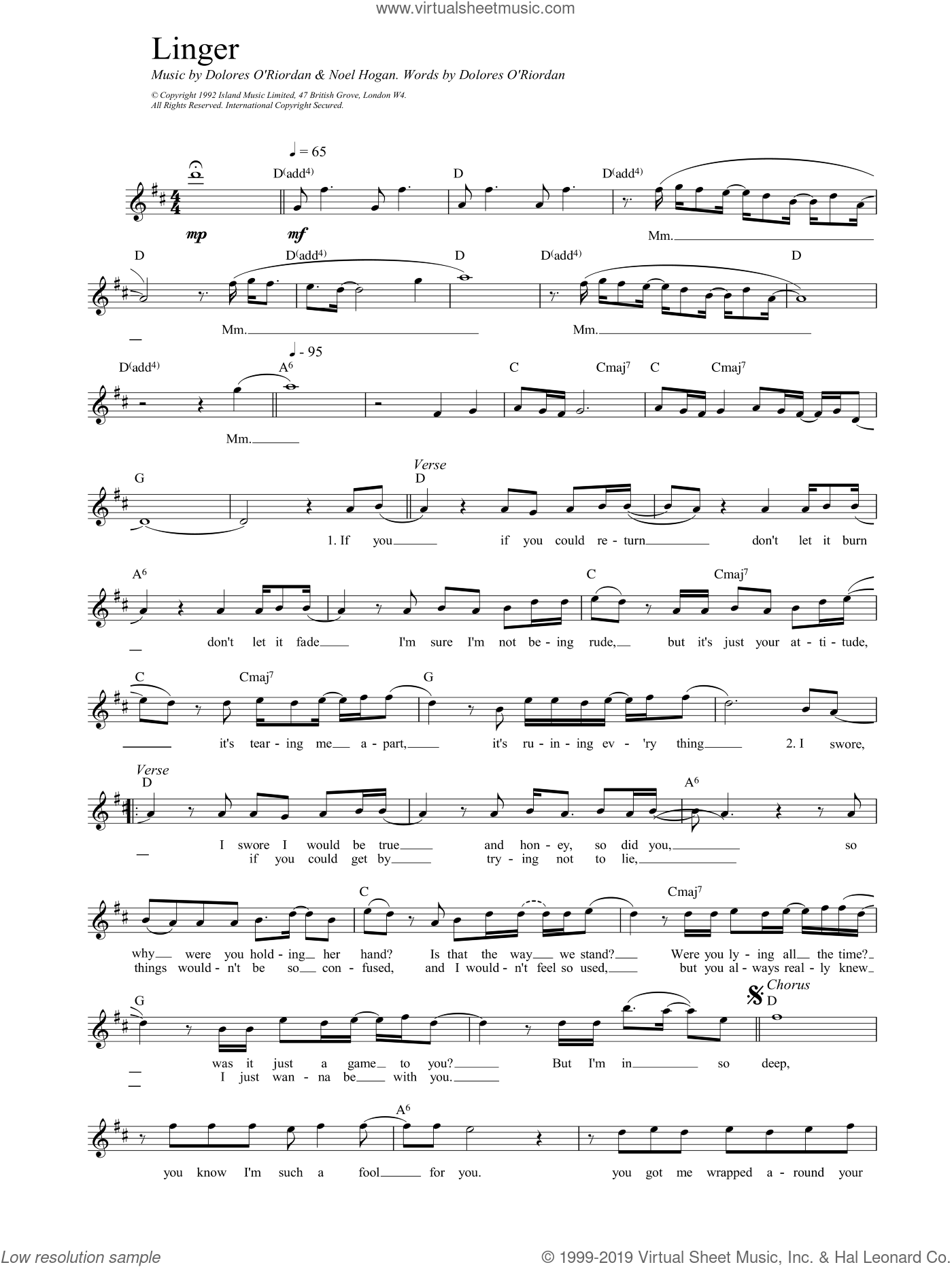 Linger sheet music for voice and other instruments (fake book) by The Cranberries and NOEL HOGAN, intermediate. Score Image Preview.