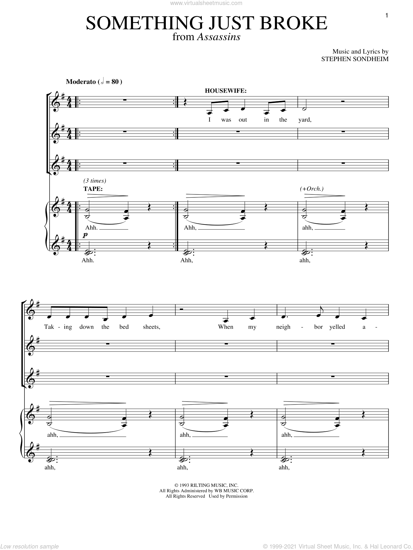 Something Just Broke sheet music for voice and piano by Stephen Sondheim