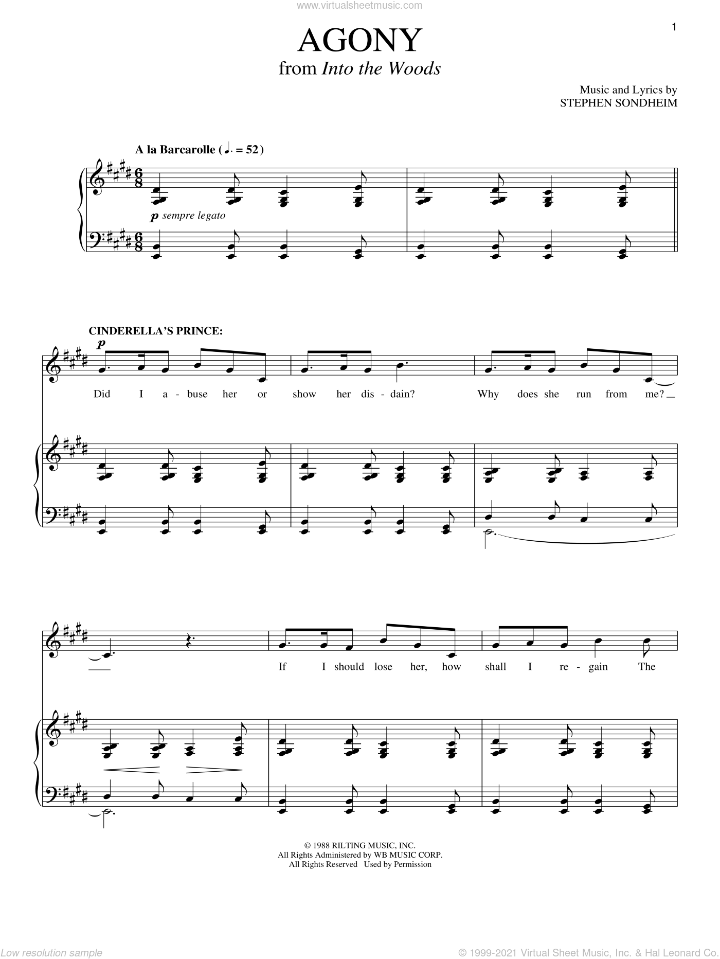Agony (from Into The Woods) sheet music for two voices and piano by Stephen Sondheim and Into The Woods (Musical), intermediate skill level