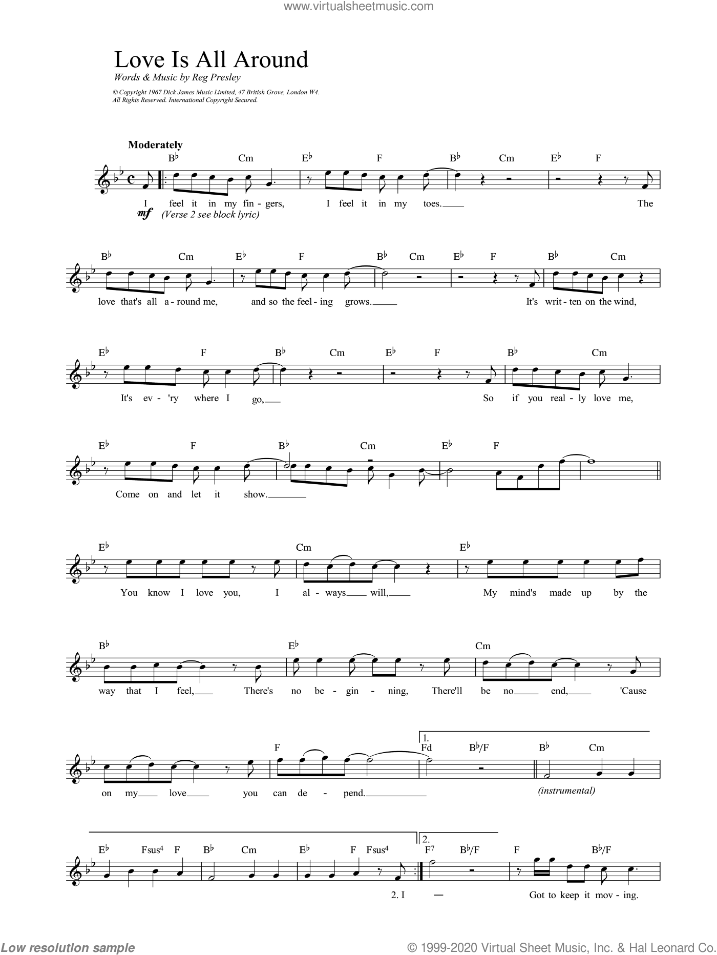 Love Is All Around sheet music for voice and other instruments (fake book) by Reg Presley