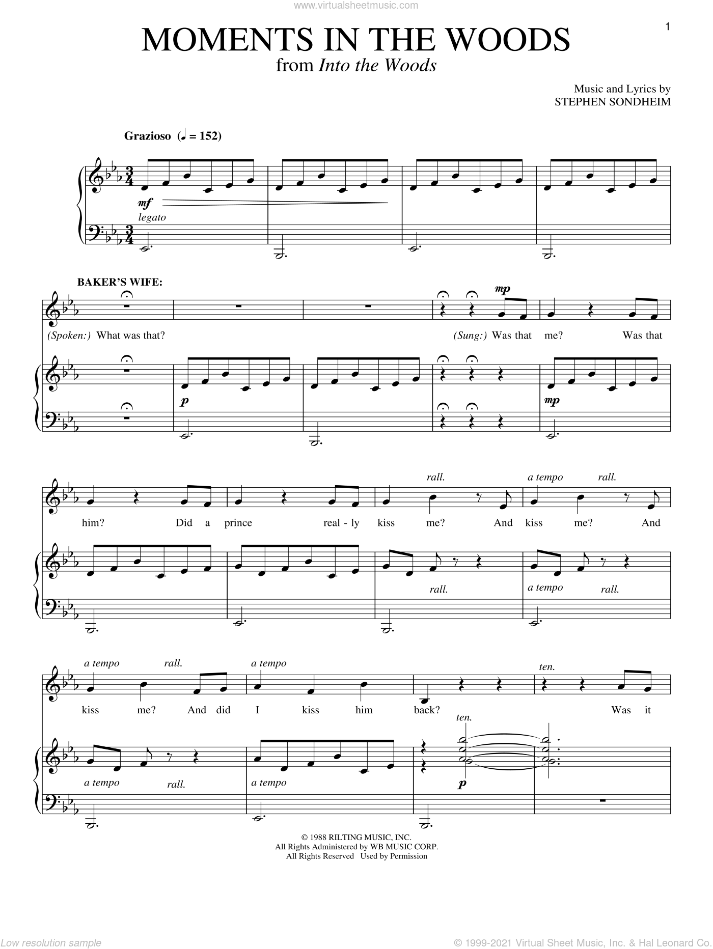 Moments In The Woods sheet music for voice and piano by Stephen Sondheim and Into The Woods (Musical), intermediate skill level