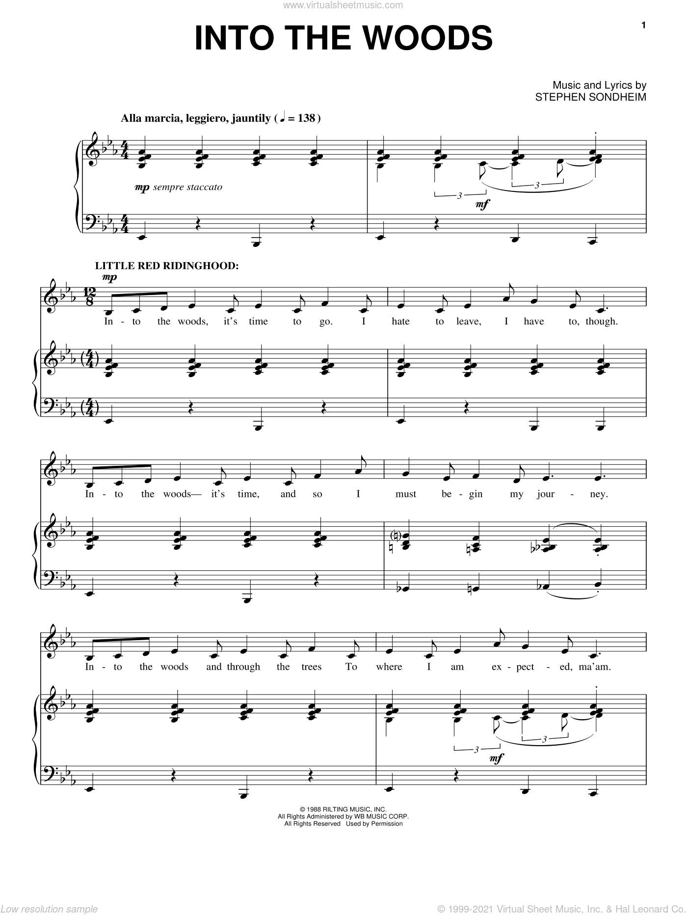 Into The Woods sheet music for voice and piano by Stephen Sondheim and Into The Woods (Musical), intermediate skill level