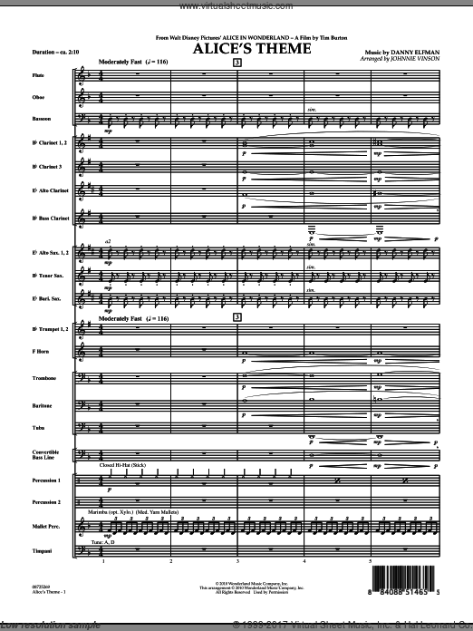 Alice's Theme (from Alice In Wonderland) (COMPLETE) sheet music for concert band by Danny Elfman