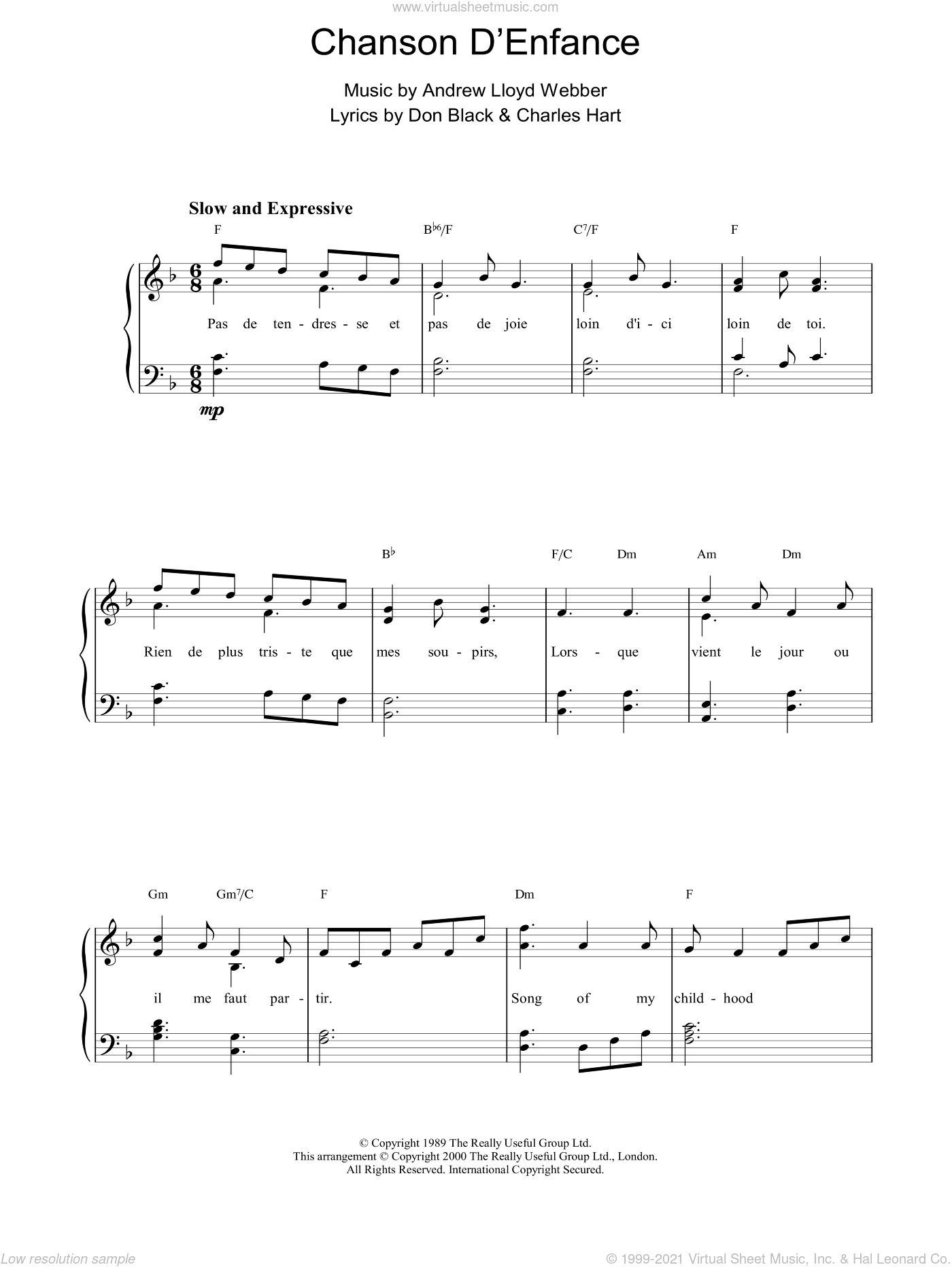 Chanson D'Enfance sheet music for piano solo by Don Black, Sarah Brightman, Andrew Lloyd Webber and Charles Hart. Score Image Preview.