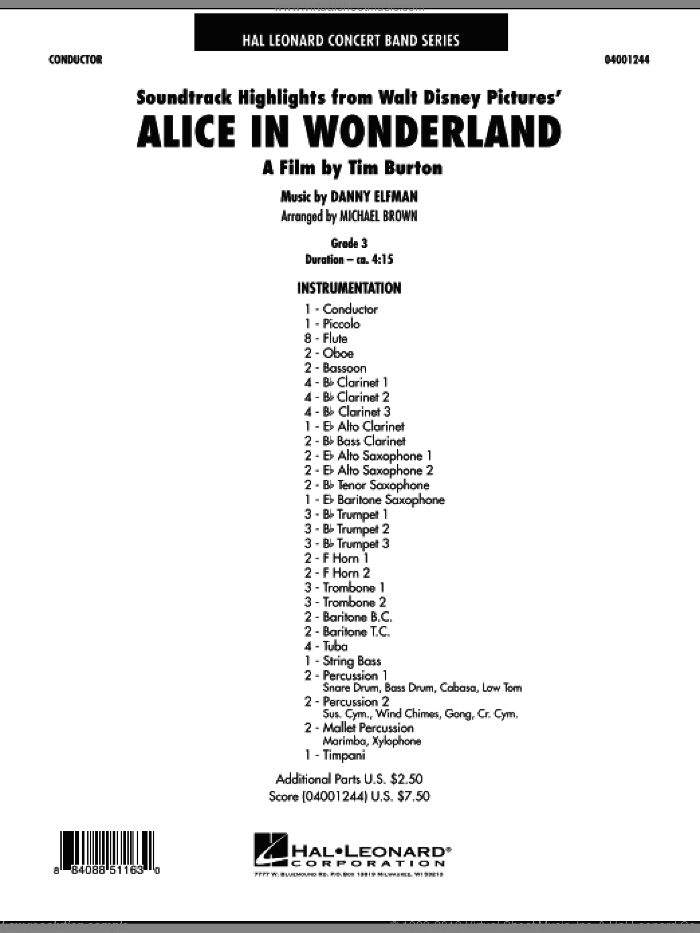 Alice In Wonderland, Soundtrack Highlights (COMPLETE) sheet music for concert band by Danny Elfman and Michael Brown, intermediate. Score Image Preview.