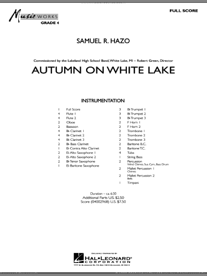 Autumn On White Lake (COMPLETE) sheet music for concert band by Samuel R. Hazo, intermediate. Score Image Preview.