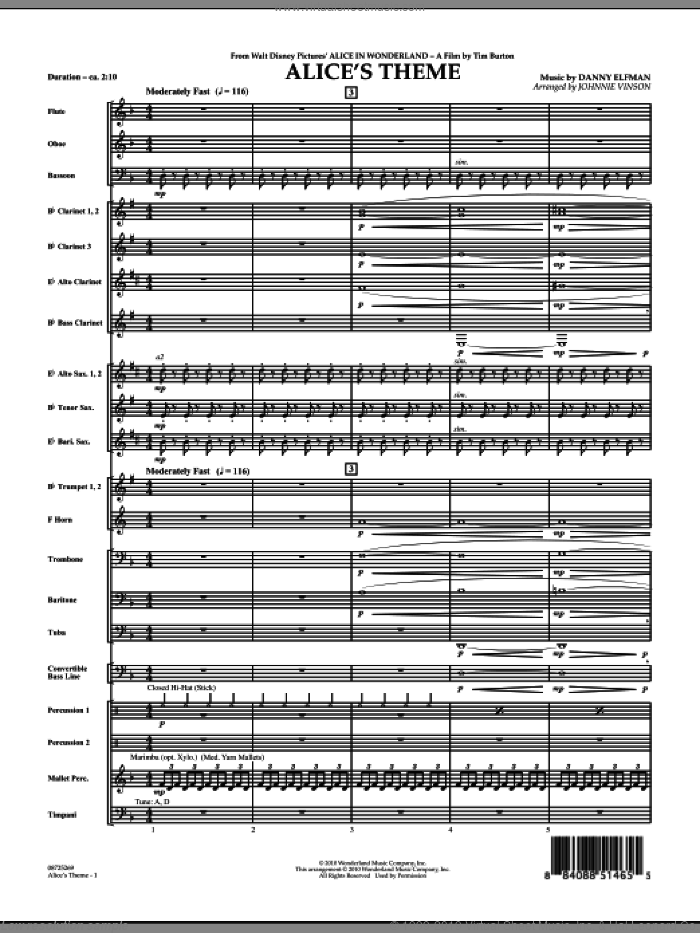 Alice's Theme (from Alice In Wonderland) (COMPLETE) sheet music for concert band by Danny Elfman and Johnnie Vinson, intermediate concert band. Score Image Preview.