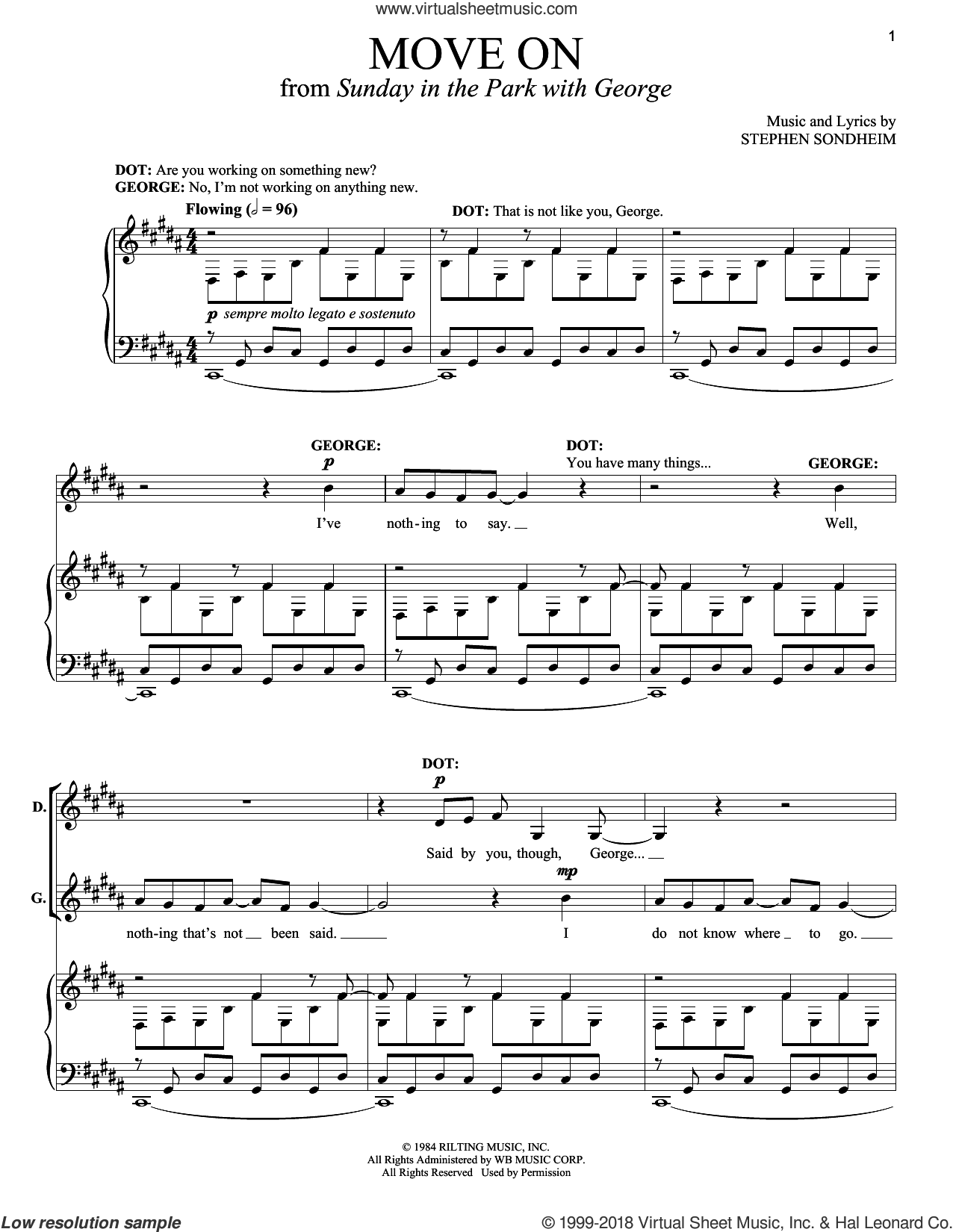 Move On sheet music for voice and piano by Stephen Sondheim and Sunday In The Park With George (Musical), intermediate. Score Image Preview.