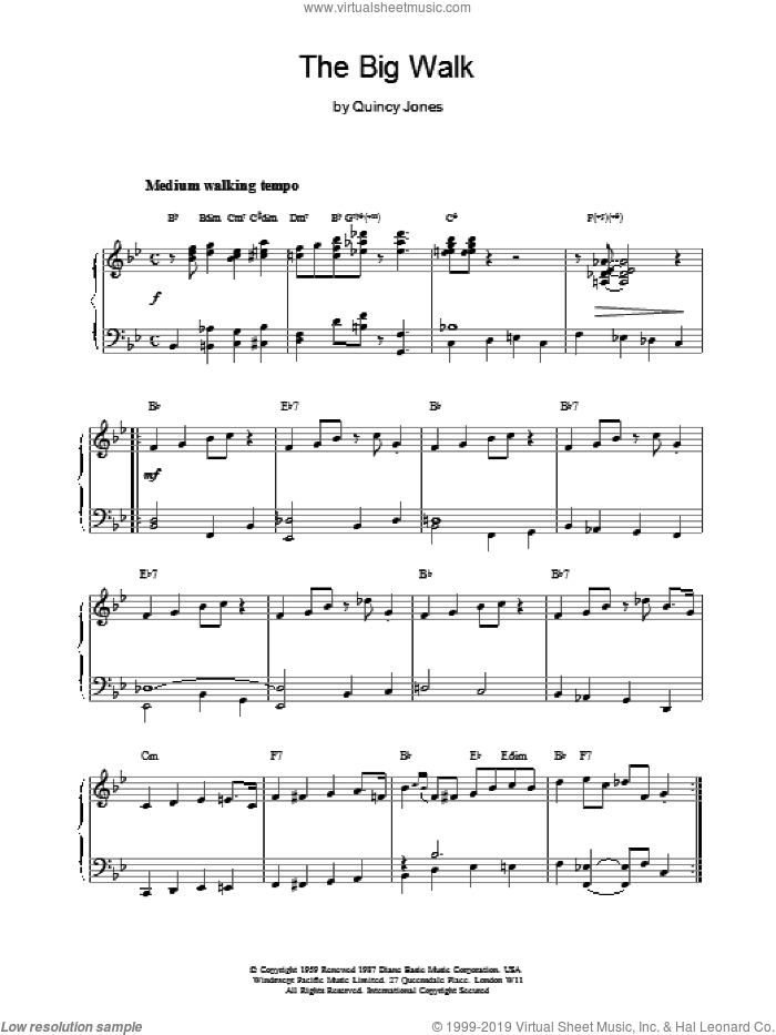 The Big Walk sheet music for piano solo by Quincy Jones. Score Image Preview.