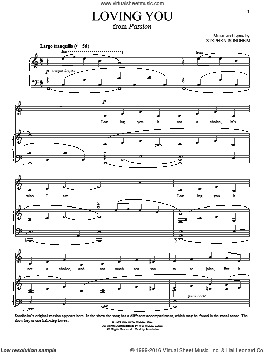 Loving You (COMPLETE) sheet music for voice and piano by Stephen Sondheim