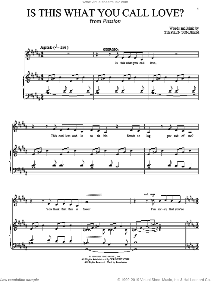 Is This What You Call Love? sheet music for voice and piano by Stephen Sondheim. Score Image Preview.