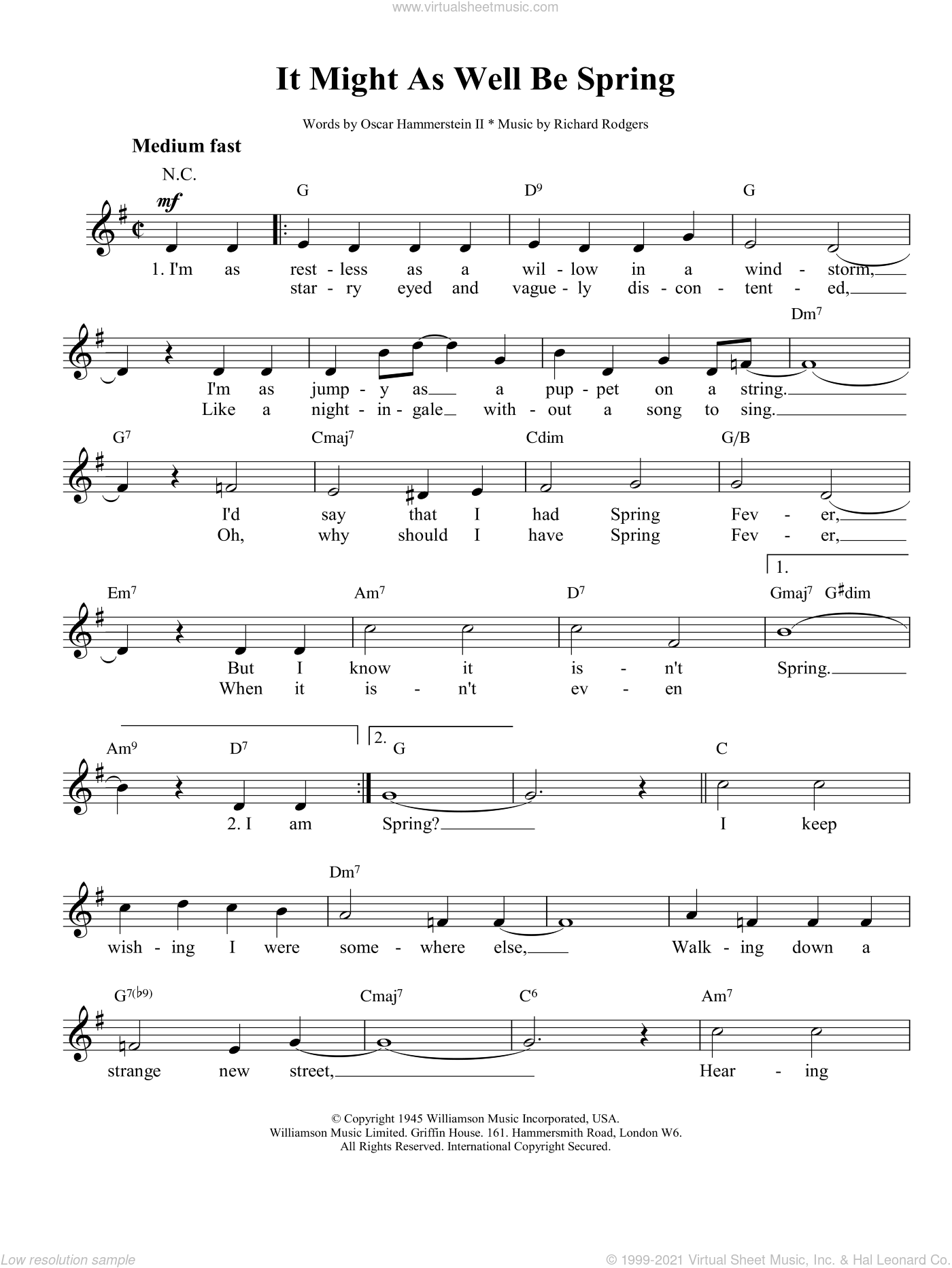 It Might As Well Be Spring sheet music for voice and other instruments (fake book) by Richard Rodgers, Rodgers & Hammerstein and Oscar II Hammerstein. Score Image Preview.