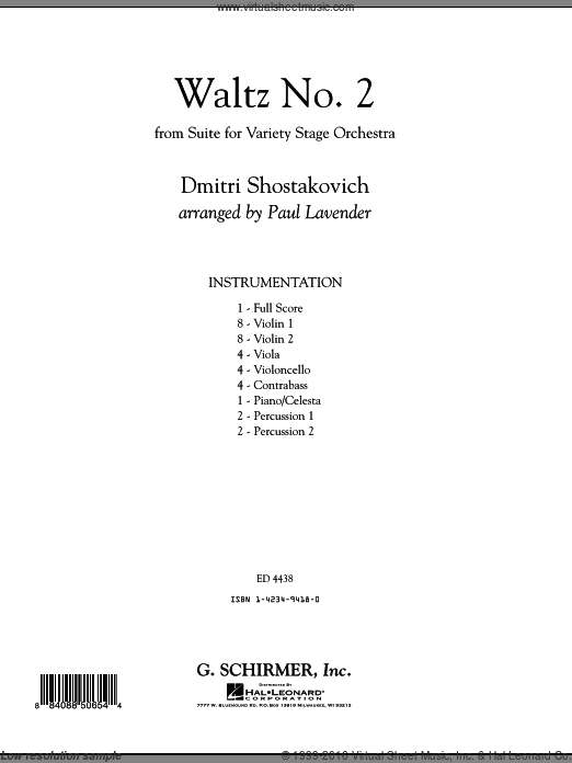 Waltz No. 2 (COMPLETE) sheet music for orchestra by Dmitri Shostakovich and Paul Lavender. Score Image Preview.