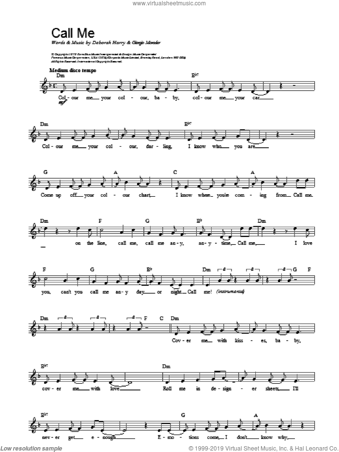Call Me sheet music for voice and other instruments (fake book) by Blondie, Giorgio Moroder and HARRY, intermediate skill level