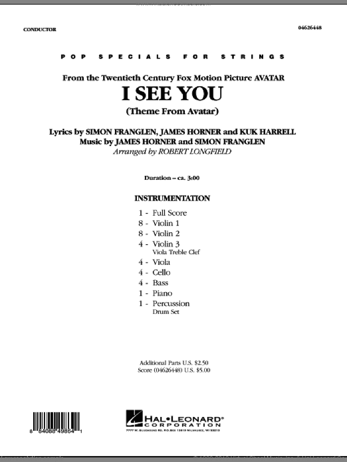 I See You (Theme from Avatar) (COMPLETE) sheet music for orchestra by James Horner, Simon Franglen and Robert Longfield, intermediate skill level