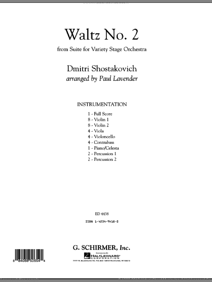 Waltz No. 2 (COMPLETE) sheet music for orchestra by Dmitri Shostakovich and Paul Lavender, classical score, intermediate skill level