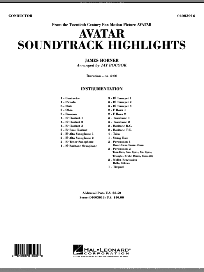 Avatar Soundtrack Highlights (COMPLETE) sheet music for concert band by James Horner and Jay Bocook, intermediate skill level