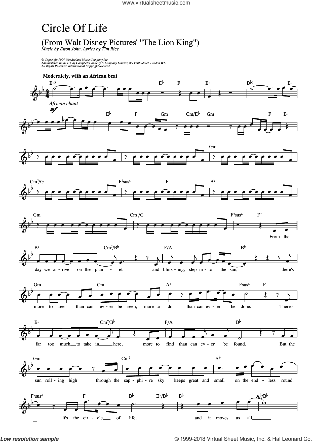 Circle Of Life (from The Lion King) sheet music for voice and other instruments (fake book) by Elton John, The Lion King and Tim Rice, intermediate skill level