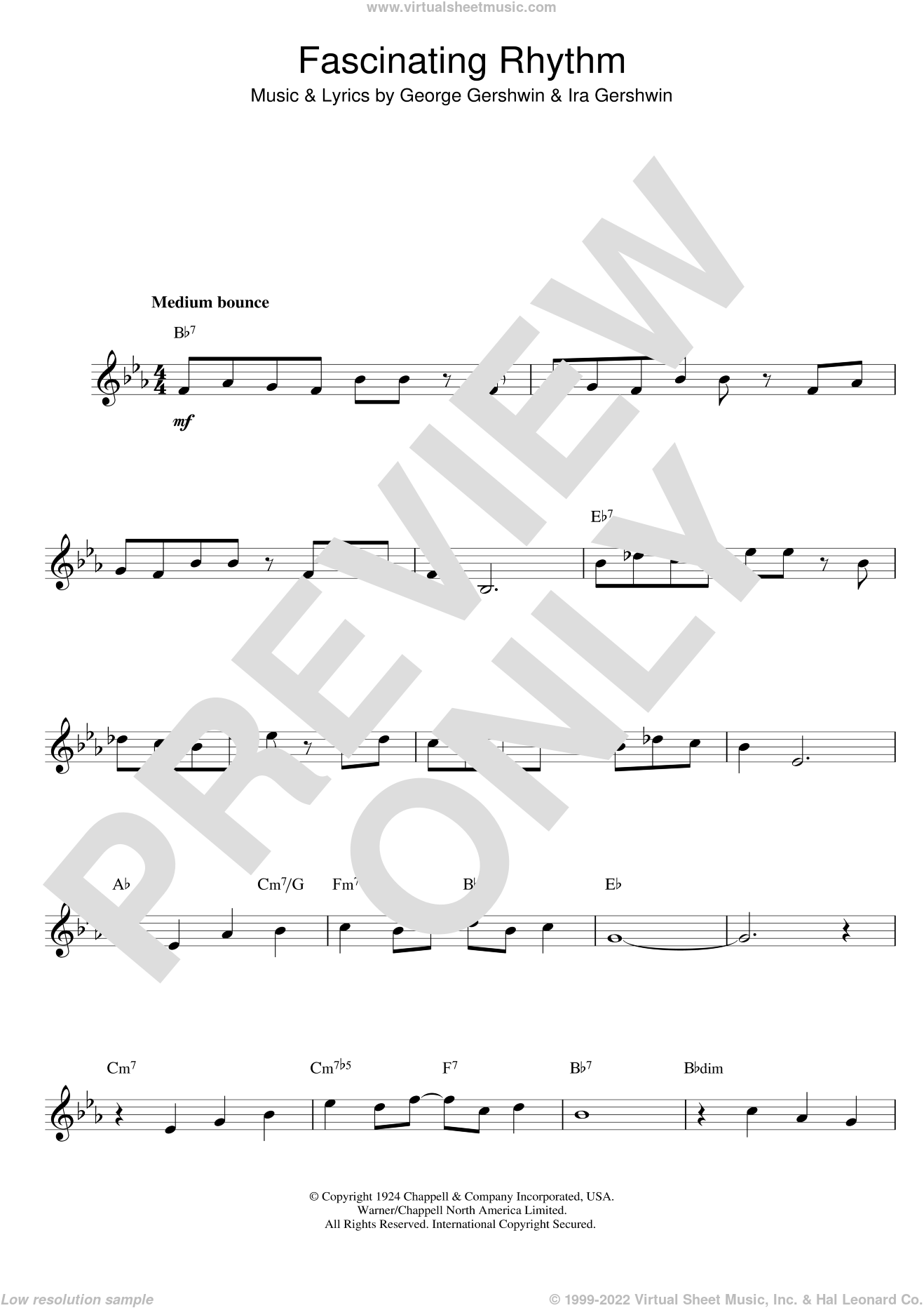 Fascinating Rhythm sheet music for voice and other instruments (fake book) by George Gershwin, Benny Goodman, Fred Astaire, De Moraes,V and Ira Gershwin, intermediate skill level