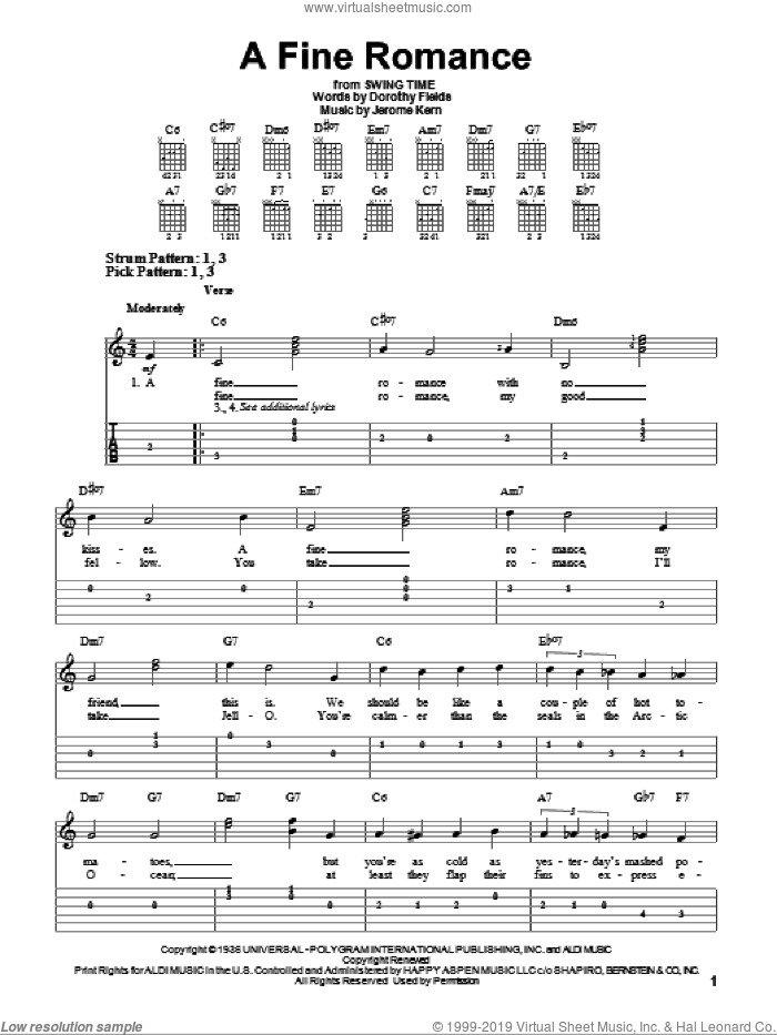 A Fine Romance sheet music for guitar solo (easy tablature) by Dorothy Fields and Jerome Kern. Score Image Preview.
