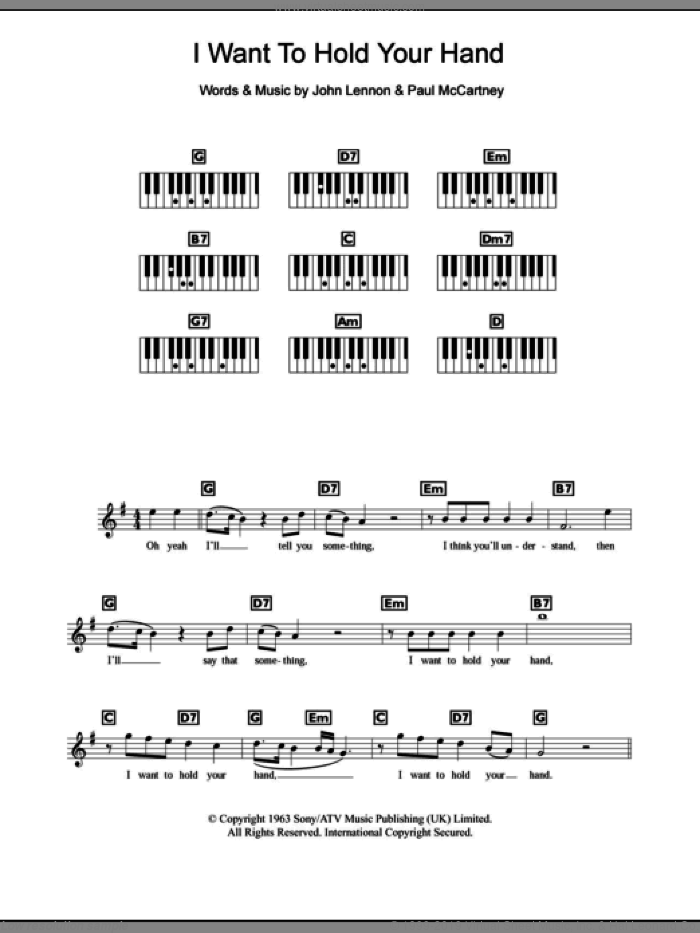 I Want To Hold Your Hand sheet music for piano solo (chords, lyrics, melody) by Paul McCartney, The Beatles and John Lennon. Score Image Preview.