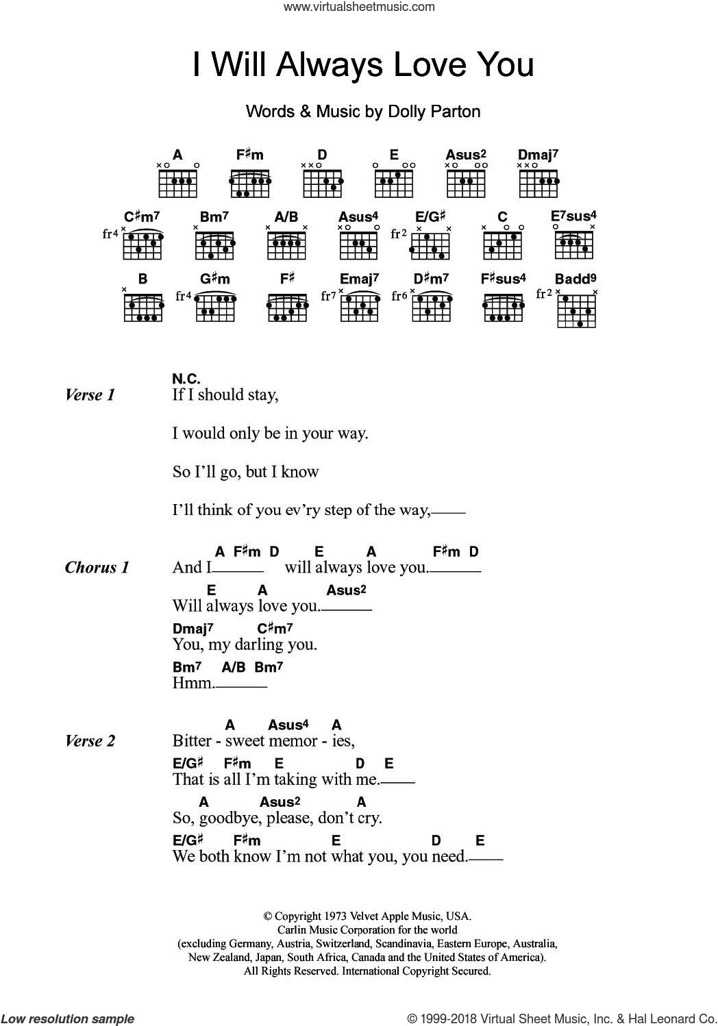 Houston I Will Always Love You Sheet Music For Guitar Chords