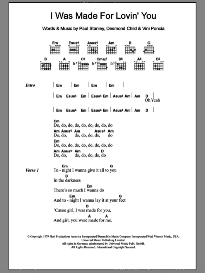 I Was Made For Lovin' You sheet music for guitar (chords) by Vini Poncia, KISS, Desmond Child and Paul Stanley. Score Image Preview.