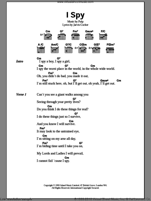 I Spy sheet music for guitar (chords, lyrics, melody) by Jarvis Cocker