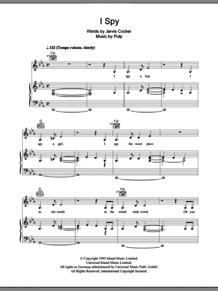 I Spy sheet music for voice, piano or guitar by Pulp and Jarvis Cocker, intermediate. Score Image Preview.