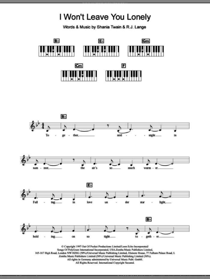 I Won't Leave You Lonely sheet music for piano solo (chords, lyrics, melody) by Shania Twain and Robert John Lange, intermediate piano (chords, lyrics, melody)