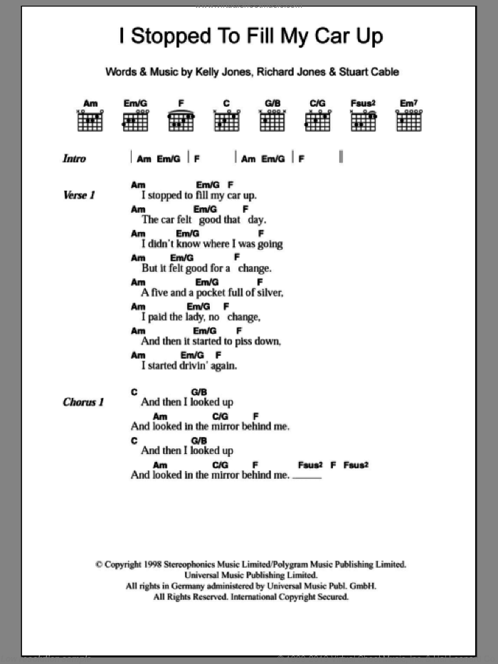 I Stopped To Fill My Car Up sheet music for guitar (chords) by Stuart Cable, Stereophonics, Kelly Jones and Richard Jones. Score Image Preview.
