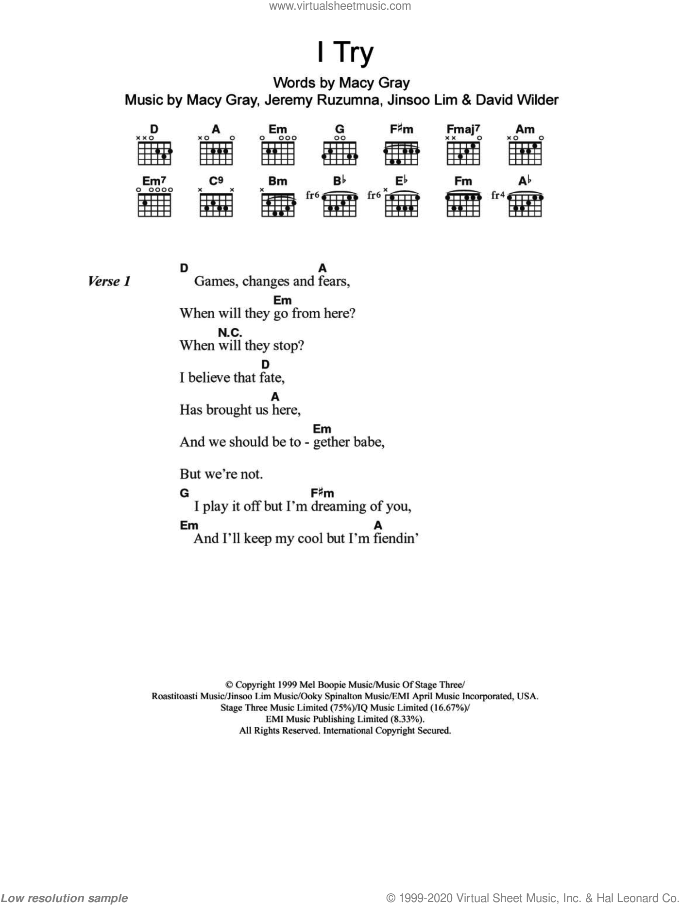 I Try sheet music for guitar (chords, lyrics, melody) by Jinsoo Lim