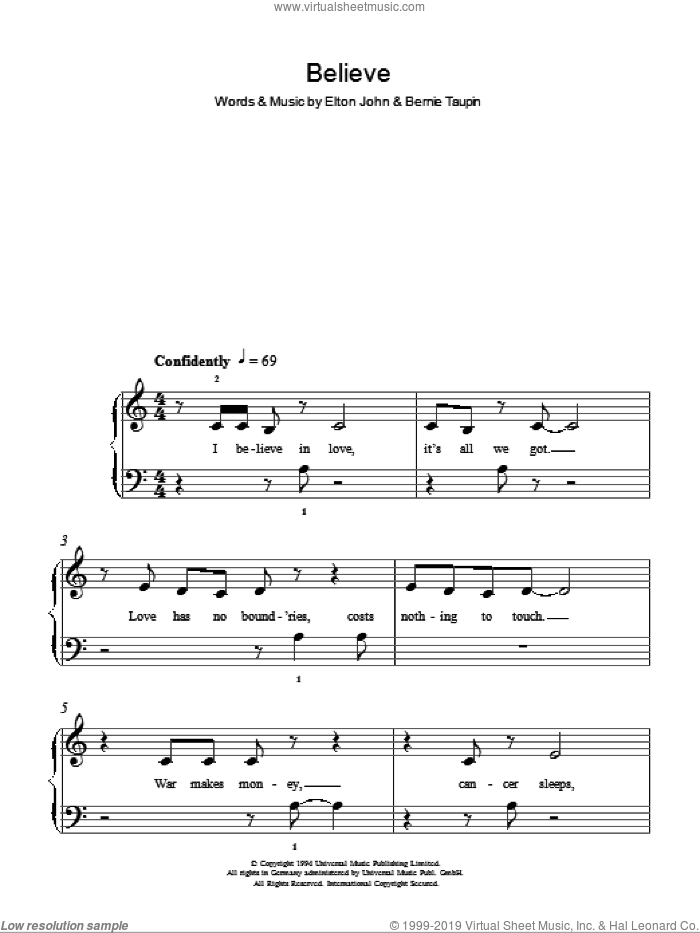 Believe sheet music for piano solo by Bernie Taupin and Elton John. Score Image Preview.