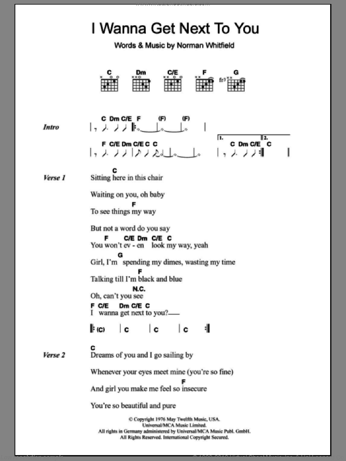 I Wanna Get Next To You sheet music for guitar (chords) by Rose Royce. Score Image Preview.