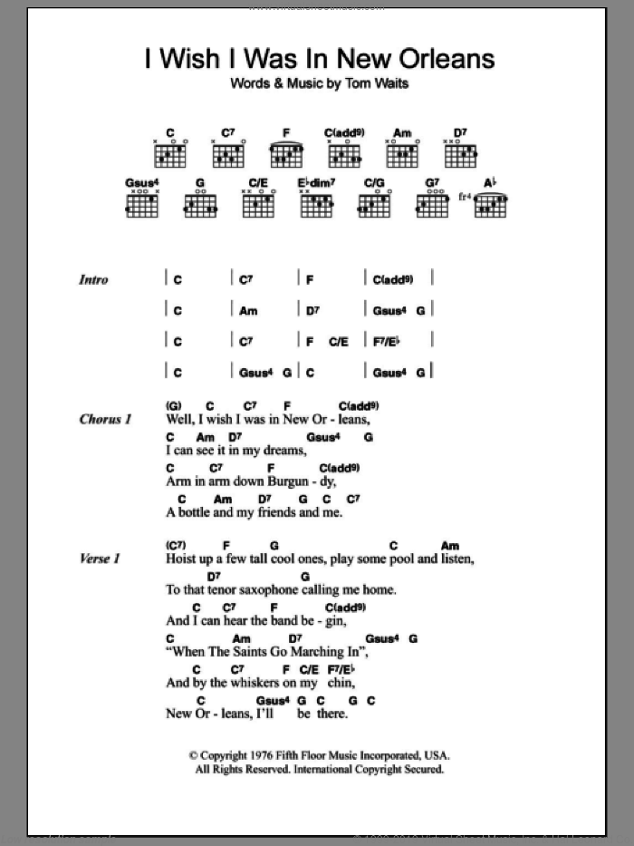 I Wish I Was In New Orleans sheet music for guitar (chords) by Tom Waits. Score Image Preview.