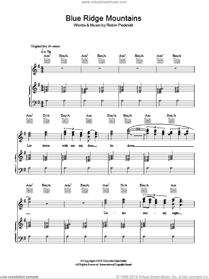 Foxes - Blue Ridge Mountains sheet music for voice, piano or guitar