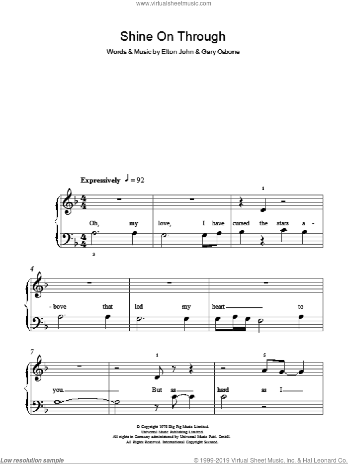 Shine On Through sheet music for piano solo by Elton John, easy. Score Image Preview.