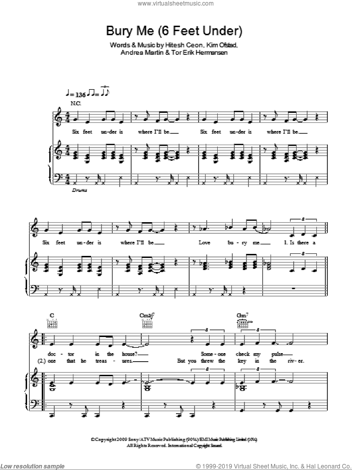 Bury Me (6 Feet Under) sheet music for voice, piano or guitar by Alexandra Burke, Andrea Martin and Tor Erik Hermansen, intermediate voice, piano or guitar. Score Image Preview.