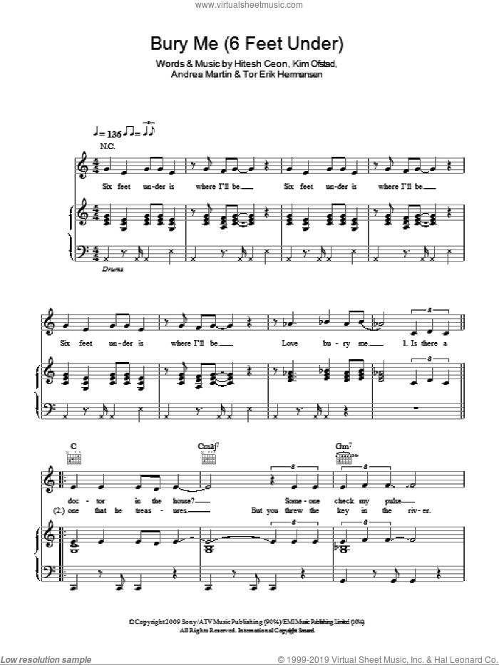 Bury Me (6 Feet Under) sheet music for voice, piano or guitar by Alexandra Burke, Andrea Martin, Hitesh Ceon, Kim Ofstad and Tor Erik Hermansen, intermediate skill level