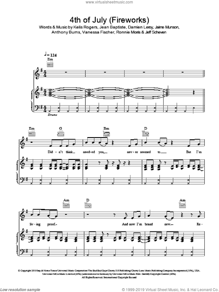 4th Of July (Fireworks) sheet music for voice, piano or guitar by Vanessa Fischer. Score Image Preview.